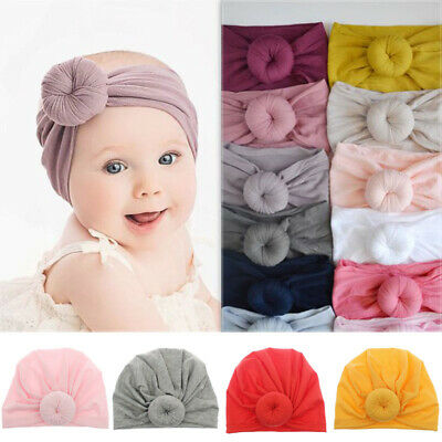 Cute Baby Girls Kids Turban Knot Headband Bow Hair Bands Newborn Head Wrap Hat