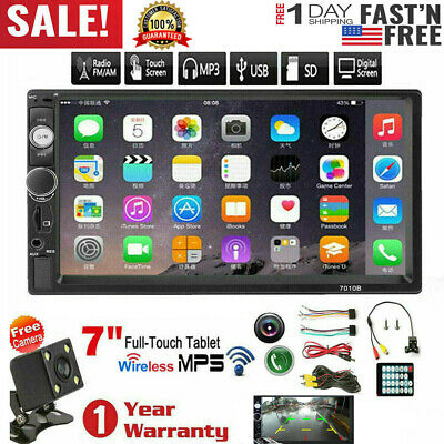 "7"" Inch Double 2 DIN Car MP5 Player Bluetooth Touch Screen Stereo Radio & Camera"