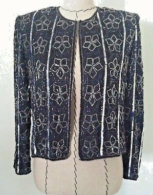Papell Boutique womens jacket beaded black silver floral evening silk L Petite