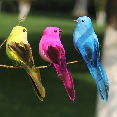 2x Clip-on Mini Fake Birds Christmas Tree Ornaments Festival Home Garden Decor