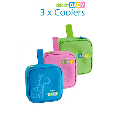 """3 x DECOR BABY INSULATED """"QUAD SNACK"""" COOLERS  in Blue, Green, Pink"""