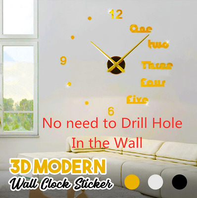 Modern DIY 3D Large Number Wall Clock Mirror Sticker Decor Home Office Kids*LM