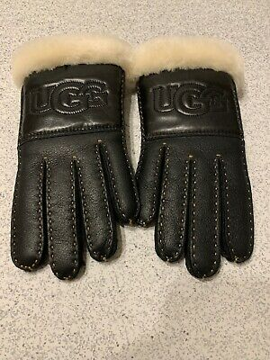 UGG Women's Black Leather Logo Gloves Shearling NWOT Size Small $165 MSRP