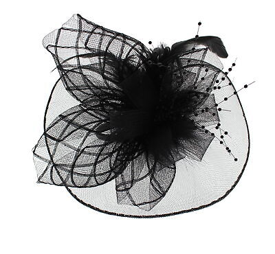 Zac's Alter Ego® Lace & Net Fascinator with Feathers on Clip or Aliceband