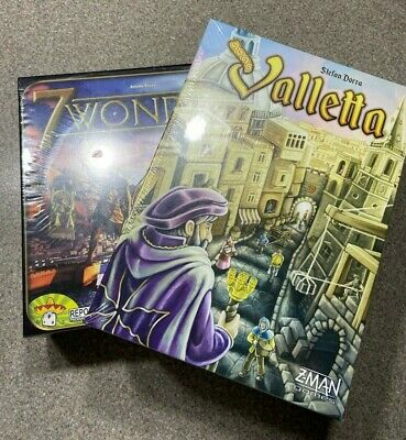 LOT of 2 - Valletta and 7 Wonders Board/Card Game NEW SEALED REPOS/ Z-MAN Games
