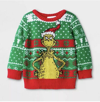 Infant Newborn Boys/Girls Dr. Seuss The Grinch Ugly Holiday Christmas Sweater