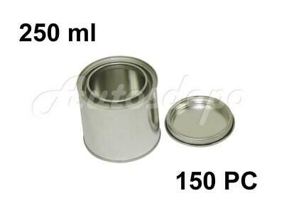 1/4 Quart, 1/2 pint, 250 ml Empty Metal Paint Can W/ Lid (150 Cans and 150 Lids)
