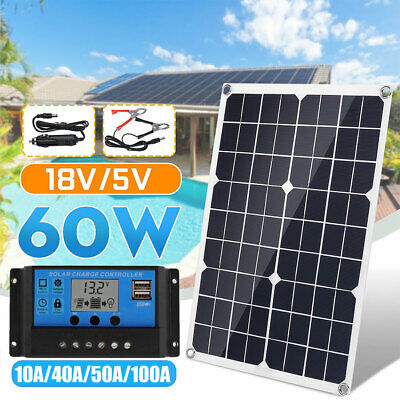 20W / 60W Solar Panel Kit Auto Car Home Mono 12/24V 100A 50A 40A 10A Controller