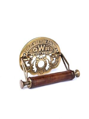 GWR Great Western Railway Victorian Toilet Roll Holder Brass Antique Finish