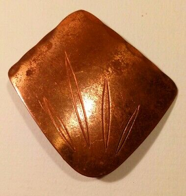 Antique arts and crafts copper Keswick pin badge