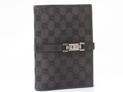 Auth GUCCI GG Canvas Note/Agenda Cover Black Italy 18609210