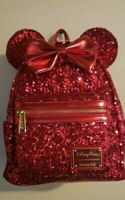 NEW Disney Parks Loungefly Minnie Mouse Pirate Redd Red  Sequined Mini Backpack