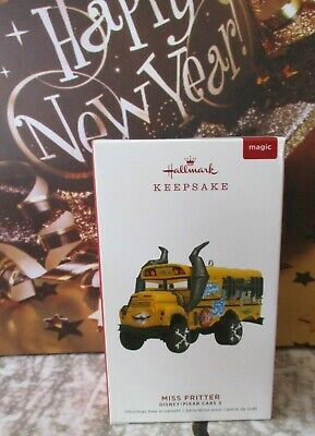 Hallmark MAGIC Ornament Disney Pixar CARS 3 MISS FRITTER Voice Sound School Bus