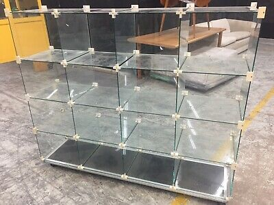 Retail glass display cabinets x16 cubes on custom made base with castors