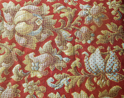 Antique French Art Deco Botanical Floral Cotton Fabric ~ Red Blue Mustard Gold