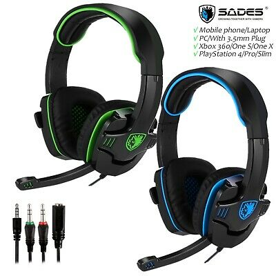 SADES SA708 Wired Gaming Headset Headphone MIC For PS4 Xbox Laptop PC Ef