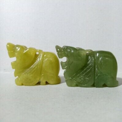 Natural Jadeite Jade Hand Carved Dragon from Heaven (Pixiu) Animal Status Pair