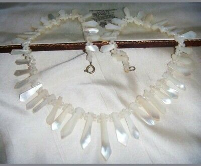 ANTIQUE/ART DECO Shimmering Carved Geometric MOTHER OF PEARL BRIDAL NECKLACE