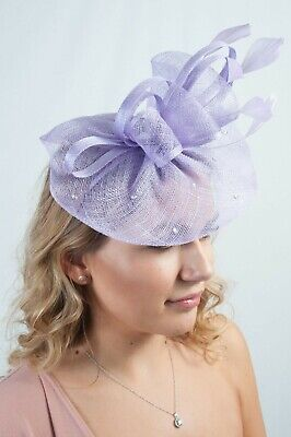 Lilac Sinamay Diamante Fascinator Ladies Fascinators Wedding Guest Race Day