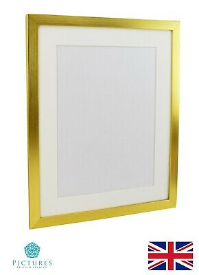 "Gold Photo Picture Poster Panoramic Frame Off White MOUNT 3x3-11x34"" A6-A3 28mm"