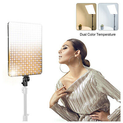 Photo Video Light Panel with 45W AC Adapter Dimmable Dual-Color Temperature