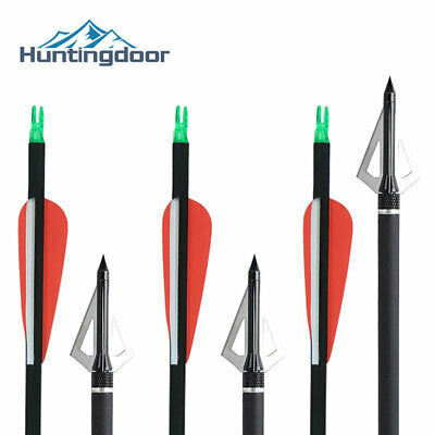 31.5'' Carbon Arrows With Removable Tips & Broadhead for Hunting Bow Archery