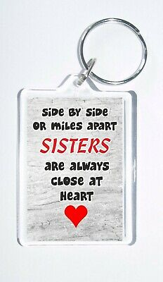 Sisters Novelty Present, Side By Side, Love, Keyring Gift Birthday/Christmas