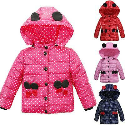 Kid Girls Lovely Spotted Hooded Puffer Jacket Down Coat Quilted Padded Tops Warm