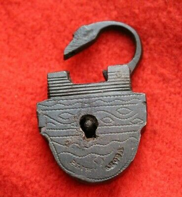 ANTIQUE OLD Russian Imperial miniature BRASS LOCK PADLOCK (NO KAY)