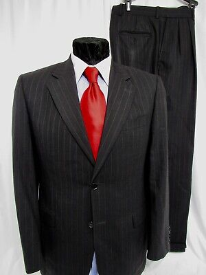 Jack Victor Mens Black Pinstriped Suit Super 110's Wool 38R For Saks Fifth Ave