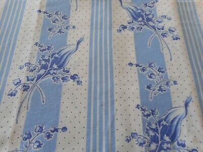 Vintage Lilly of the Valley Floral Stripe Dot Light Cotton Fabric~ Blue White