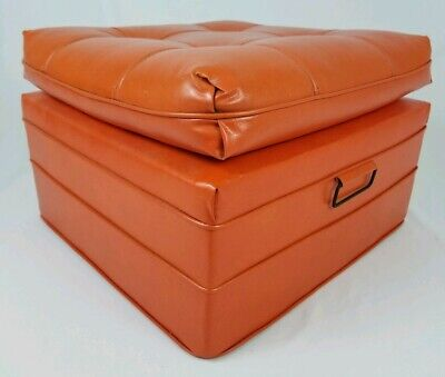 Mid-Century Foot Stool Ottoman Hassock Orange Naugahyge Retro Vintage Huge