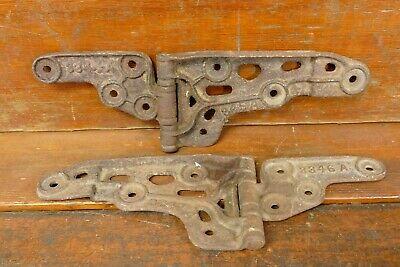 "Set of 2 Vintage Casts Iron Door Hinges Large 14"" Heavy Industrial Barn Garage"