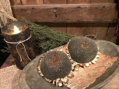 Primitive Dried Sunflower Bowl Fillers Homestead Early Look Cupboard Tuck #C