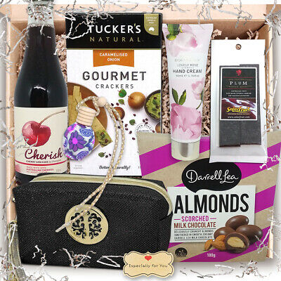 Gift Hamper for Women; Chocolate Almond, Crackers, Drink, Dried Fruit,Hand Cream
