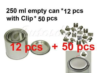 1/2 pint, 250 ml Empty Metal Paint Can (12 Cans and Lids) with Lock Clips 50 pcs
