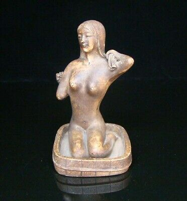 Handmade Carving Statue Sculpture old Jade stone People Ancient beauty Art Deco