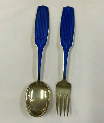 1961 Anton Michelsen Denmark Enameled Sterling Silver Christmas Spoon & Fork Set