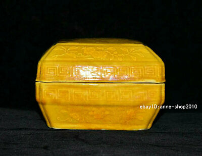 Marked Old China Ancient Yellow glaze Porcelain Pottery Storage box AJJJ