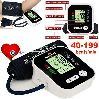 Digital LCD Upper Arm Blood Pressure Pulse Monitor Auto Sphygmomanometer + Voice