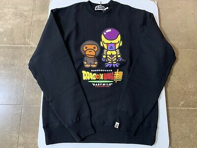 AUTHENTIC APE BAPE x DRAGON BALL SUPER GOLDEN FRIEZA CREWNECK BLACK XL NEW