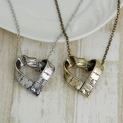 Fashion Ruler Measure Love Heart Sewing Silver Gold Sewing Lover Necklace WO