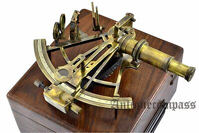 "Maritime Nautical Ship Astrolabe 8"" Heavy Brass Antique Sextant With Wooden Box"