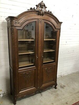 Antique French Bookcase Display Cabinet Vitrine