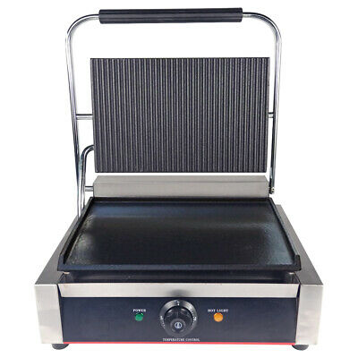 Electric Contact Grill Commercial Grooved Panini Press Toaster Sandwich Griddle