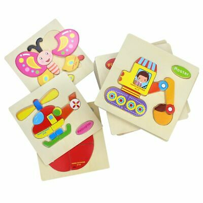 Kids Cartoon Animals Dimensional 3D Early Education  Wooden Jigsaw  Puzzle Baby