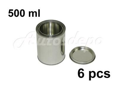 Pint Size , 500 ml Empty Metal Paint Cans With Lever Lids (6 Cans & 6 Lids)