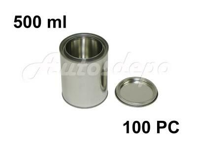Pint Size , 500 ml Empty Metal Paint Cans With Lever Lids (100 Cans & 100 Lids)