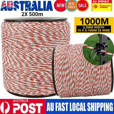 2X 500m Polywire Roll Electric Fence Energiser Stainless Poly Rope Insulator