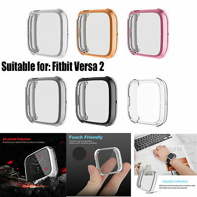 For Fitbit Versa 2 Waterproof TPU Smart Watch Case Shell Cover Screen Protector